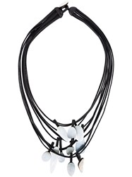 Monies Mother Of Pearl Pendant Necklace Black