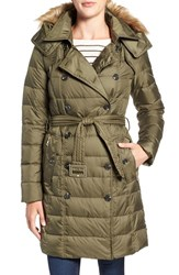 Sam Edelman Women's Faux Fur Trim Down Coat Thyme