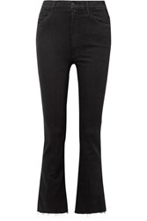 Mother The Hustler Cropped Frayed High Rise Flared Jeans Black