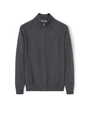 Mango Zipped Cotton Cardigan Grey