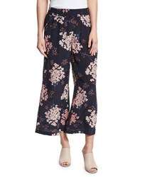 Rebecca Taylor Phlox Floral Print Silk Smocked Wide Leg Pants Navy