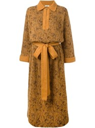 Yves Saint Laurent Vintage Belted Sweater Dress Yellow And Orange