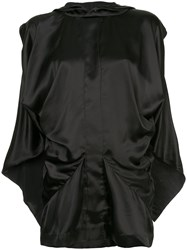 Moohong Draped Sleeveless Hood Top Black