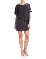 Xscape Evenings Asymmetrical Shift Dress Charcoal Silver