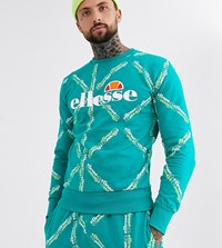 Ellesse Sismond All Over Logo Print Sweat In Teal Exclusive At Asos Green