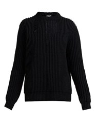 Calvin Klein 205W39nyc Distressed Ribbed Knit Sweater Black