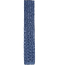 Richard James Knitted Square End Silk Tie Navy