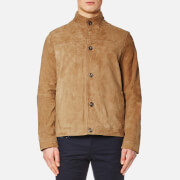 Michael Kors Men's Leather Harrington Jacket Khaki Green