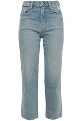 Simon Miller Woman Cropped Distressed Faded High Rise Straight Leg Jeans Light Denim
