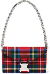Christopher Kane Devine Checked Twill Shoulder Bag Tomato Red
