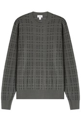 Brioni Wool Silk Cashmere Patterned Pullover Green