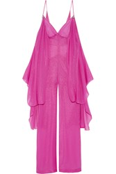 Emilio Pucci Draped Metallic Silk Blend Chiffon Jumpsuit Pink