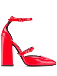 Versace Mary Jane Pumps Red