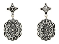 Gypsy Soule Diamond Shaped Filagree Stud Concho Dangle Earrings Silver Earring