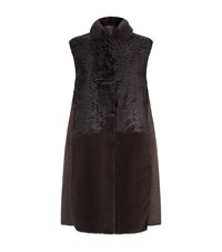 Lilly E Violetta Shearling Mink Trim Gilet Brown