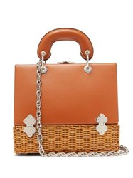 Rodo Sixty Six Small Wicker And Leather Box Bag Tan Multi