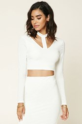 Forever 21 Stretch Knit Cutout Crop Top