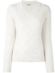 Peter Jensen Sequined Cable Knit Jumper Nude And Neutrals