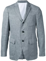 Wooster Lardini Textured Stripe Blazer Men Linen Flax Wool 46 Grey