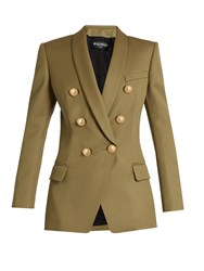 Balmain Double Breasted Wool Jacket Khaki