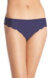 Women's Halogen 'No Show' Scalloped Thong Navy Dusk
