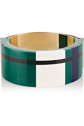 Marni Gold Plated Resin And Leather Bracelet