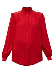 N 21 No. Ruffle Trimmed Crepe Blouse Red