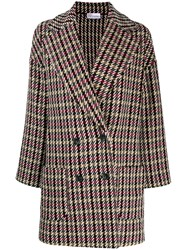 Red Valentino Mixed Check Coat Red