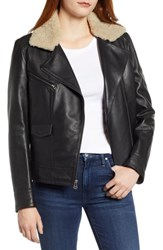 Cole Haan Bonded Leather Moto Jacket With Genuine Shearling Collar Black