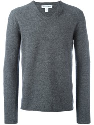 Comme Des Garcons Play Classic V Neck Sweater Grey