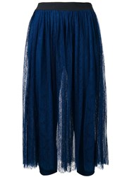 Twin Set Lace Layer Pleated Skirt Blue