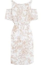 Bailey 44 Off The Shoulder Printed Crepe Dress Camel