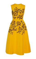 Lela Rose Embroidered A Line Dress Yellow