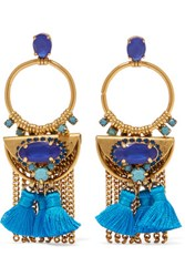 Elizabeth Cole Tasseled Burnished Gold Plated Swarovski Crystal Earrings Blue