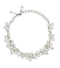 Oscar De La Renta Crystal Embellished Necklace Silver