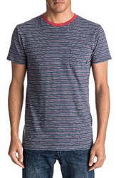 Quiksilver Men's Dumaran Stripe Pocket T Shirt Navy Blazer