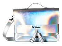 Dr. Martens 13 Tassel Satchel Silver Lazer Reflective Metallic Leather Satchel Handbags