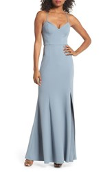Jenny Yoo Reese Crepe Knit Gown Mayan Blue