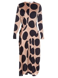 Stella Mccartney Large Polka Dot Print Long Sleeved Dress Blue Multi