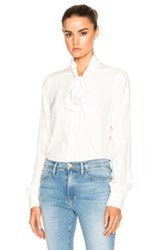 Frame Denim Tie Neck Top In White