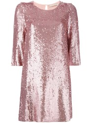 Amen Sequins Embellished Shift Dress Pink Purple