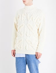 Loewe Cable Knit Wool Jumper Off White