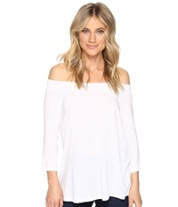 Michael Stars Jersey Lycra 3 4 Sleeve Off Shoulder Top White Women's Clothing