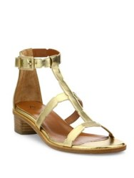 Aquatalia By Marvin K Risa Metallic Leather Block Heel Gladiator Sandals Gold