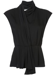 Tome Draped Wrap Blouse Silk S Black
