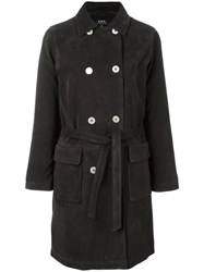 A.P.C. Belted Double Breasted Coat Grey