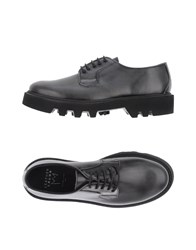 Leather Crown Lace Up Shoes Grey