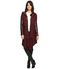 Blank Nyc Sweater With Vegan Leather Sleeves And Hood In Permanent Mark Permanent Mark Women's Sweater Burgundy