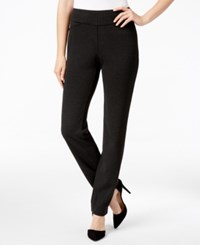 Charter Club Houndstooth Tummy Control Slim Leg Pants Only At Macy's Deep Black Combo