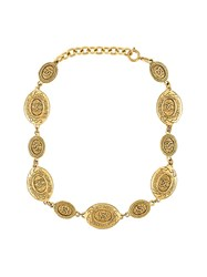 Chanel Vintage Oval Coin Necklace Metallic